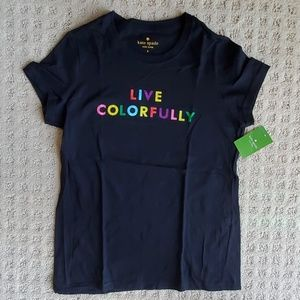 NWT Kate Spade Live Colorfully black tee size S